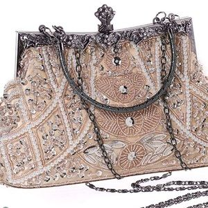 Handbags - 1920's Vintage Style Pearl and Beaded Clutch/Purse